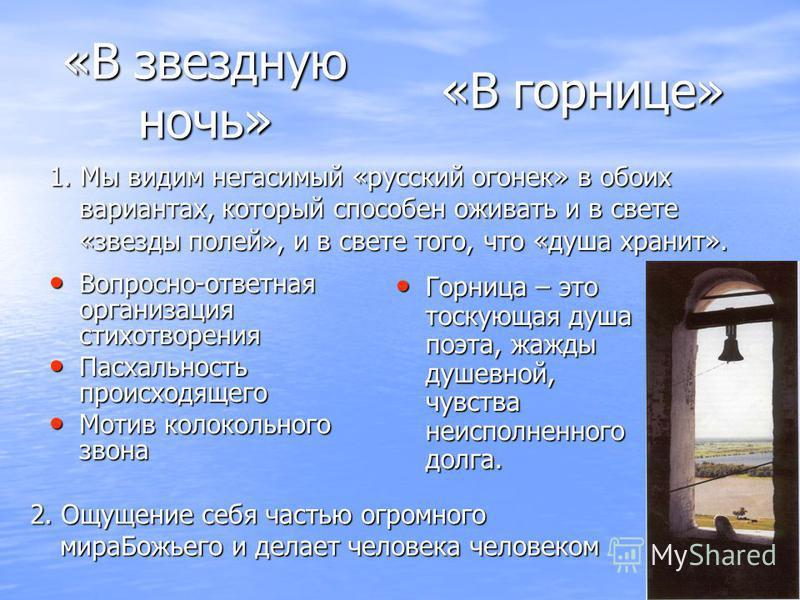 Вопросно-ответная организация стихотворения Вопросно-ответная организация стихотворения Пасхальность происходящего Пасхальность происходящего Мотив колокольного звона Мотив колокольного звона Горница – это тоскующая душа поэта, жажды душевной, чувств