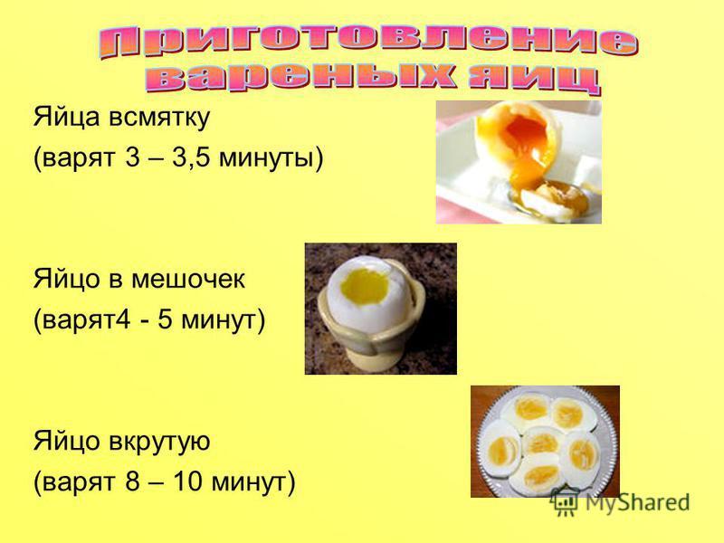 Яйца всмятку (варят 3 – 3,5 минуты) Яйцо в мешочек (варят 4 - 5 минут) Яйцо вкрутую (варят 8 – 10 минут)