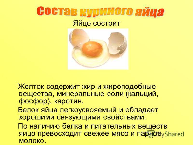 Яйцо состоит из скорлупы белка желтка Желток содержит жир и жироподобные вещества, минеральные соли (кальций, фосфор), каротин. Белок яйца легкоусвояемый и обладает хорошими связующими свойствами. По наличию белка и питательных веществ яйцо превосход