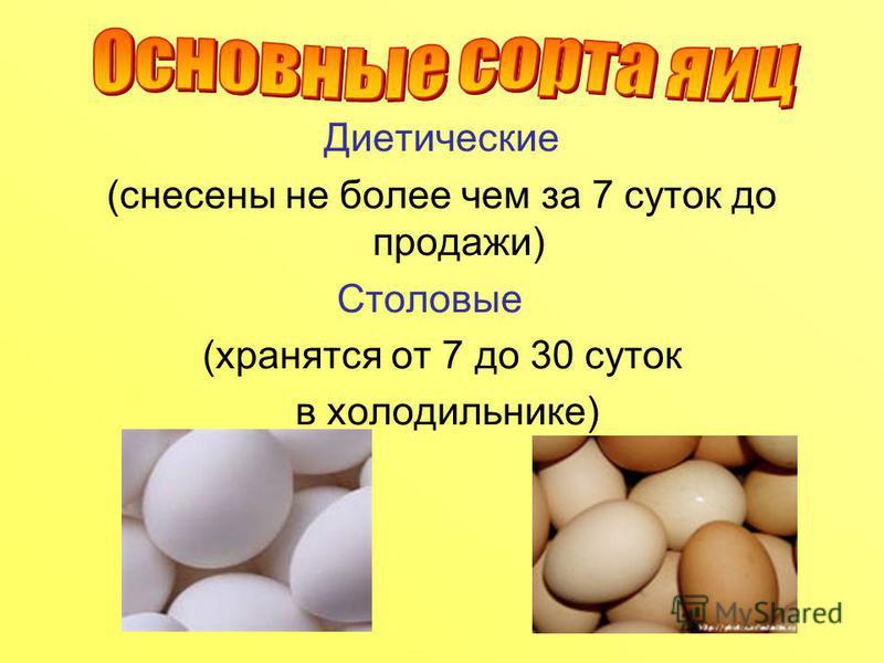 Диетические (снесены не более чем за 7 суток до продажи) Столовые (хранятся от 7 до 30 суток в холодильнике)