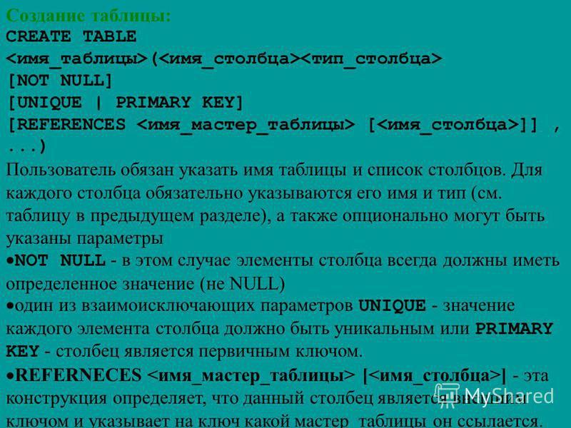 Создание таблицы: CREATE TABLE ( [NOT NULL] [UNIQUE | PRIMARY KEY] [REFERENCES [ ]],...) Пользователь обязан указать имя таблицы и список столбцов. Для каждого столбца обязательно указываются его имя и тип (см. таблицу в предыдущем разделе), а также