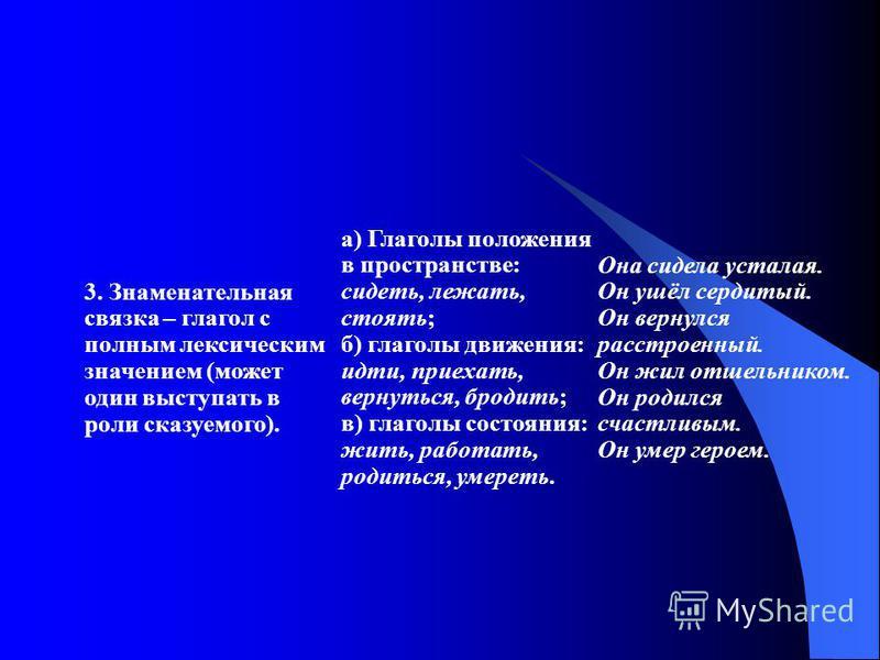 3. Знаменательная связка – глагол с полным лексическим значением (может один выступать в роли сказуемого). а) Глаголы положения в пространстве: сидеть, лежать, стоять; б) глаголы движения: идти, приехать, вернуться, бродить; в) глаголы состояния: жит