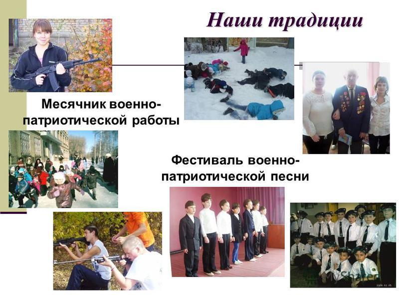 Наши традиции Месячник военно- патриотической работы Фестиваль военно- патриотической песни