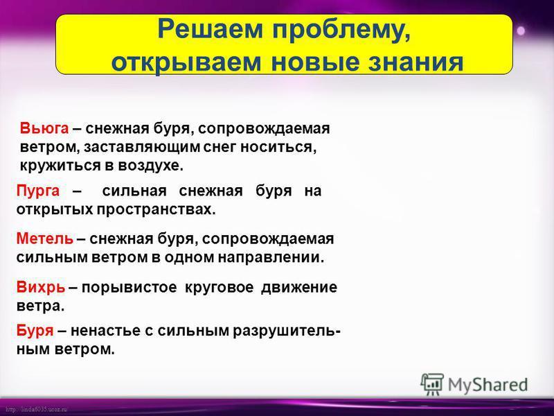 http://linda6035.ucoz.ru/ Вьюга – снежная буря, сопровождаемая ветром, заставляющим снег носиться, кружиться в воздухе. Пурга – сильная снежная буря на открытых пространствах. Метель – снежная буря, сопровождаемая сильнам ветром в одном направлении.