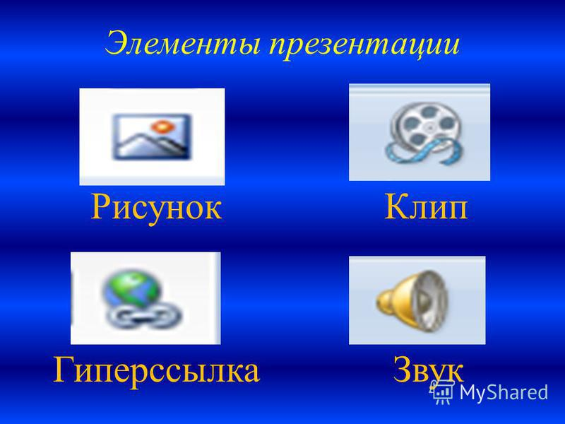 Элементы презентации Рисунок Клип Гиперссылка Звук