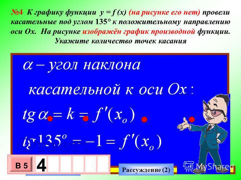 0 У Х 1 1 Рассуждение (2) Ответ (2) - 3 х 1 0 х В 5 4 4 К графику функции y = f (x) (на рисунке его нет) провели касательные под углом 135° к положительному направлению оси Ох. На рисунке изображён график производной функции. Укажите количество точек