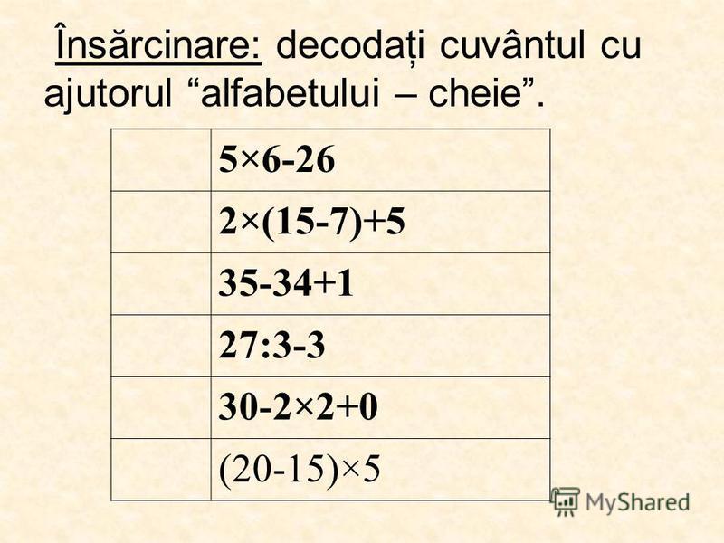 Însărcinare: decodaţi cuvântul cu ajutorul alfabetului – cheie. 5×6-26 2×(15-7)+5 35-34+1 27:3-3 30-2×2+0 (20-15)×5