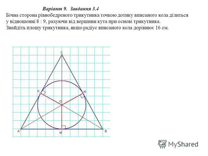 Варіант 9. Завдання 3.4 Бічна сторона рівнобедреного трикутника точкою дотику вписаного кола ділиться у відношенні 8 : 9, рахуючи від вершини кута при основі трикутника. Знайдіть площу трикутника, якщо радіус вписаного кола дорівнює 16 см.