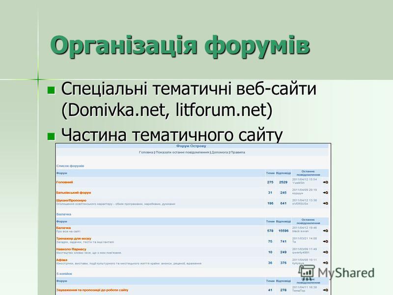 Організація форумів Спеціальні тематичні веб-сайти (Domivka.net, litforum.net) Спеціальні тематичні веб-сайти (Domivka.net, litforum.net) Частина тематичного сайту Частина тематичного сайту