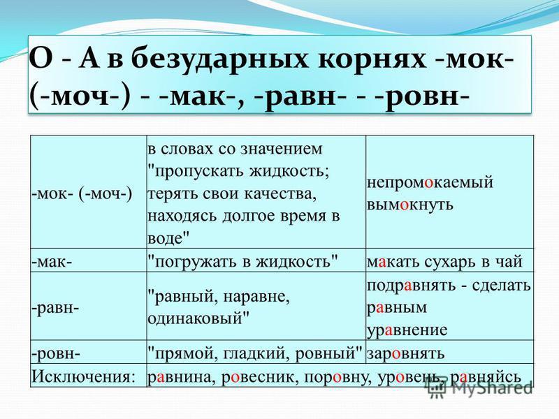 О - А в безударных корнах -мок- (-моч-) - -мак-, -равн- - -равно- -мок- (-моч-) в словах со значением