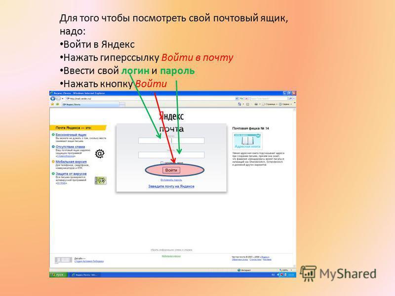 Для того чтобы посмотреть свой почтовый ящик, надо: Войти в Яндекс Нажать гиперссылку Войти в почту Ввести свой логин и пароль Нажать кнопку Войти