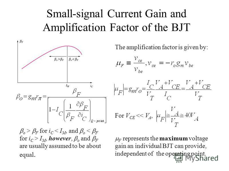 Small-signal Current Gain and Amplification Factor of the BJT o > F for i C I M, however, o and F are usually assumed to be about equal. The amplification factor is given by: For V CE << V A, F represents the maximum voltage gain an individual BJT ca