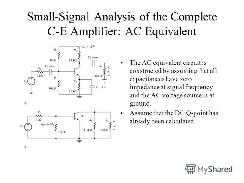 Small-Signal Analysis of the Complete C-E Amplifier: AC Equivalent The AC equivalent circuit is constructed by assuming that all capacitances have zero impedance at signal frequency and the AC voltage source is at ground. Assume that the DC Q-point h