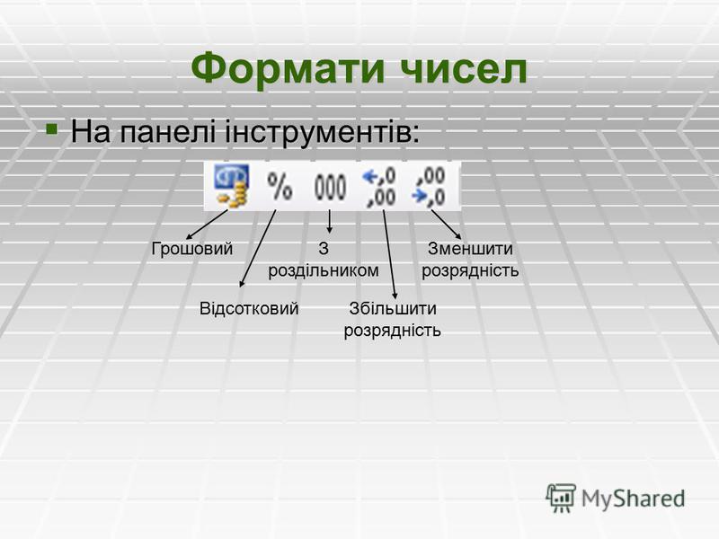 Формати чисел На панелі інструментів: На панелі інструментів: Грошовий Відсотковий З роздільником Збільшити розрядність Зменшити розрядність