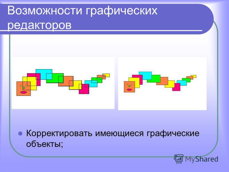Возможности графических редакторов Корректировать имеющиеся графические объекты;