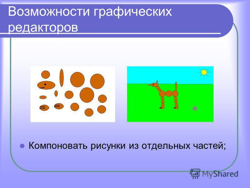 Возможности графических редакторов Компоновать рисунки из отдельных частей;