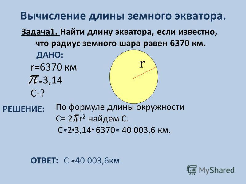Вычисление длины земного экватора. ОТВЕТ: С 40 003,6 км. r=6370 км 3,14 С-? r Задача 1. Найти длину экватора, если известно, что радиус земного шара равен 6370 км. ДАНО: РЕШЕНИЕ: По формуле длины окружности С= 2 r 2 найдем С. С 2 3,14 6370 40 003,6 к