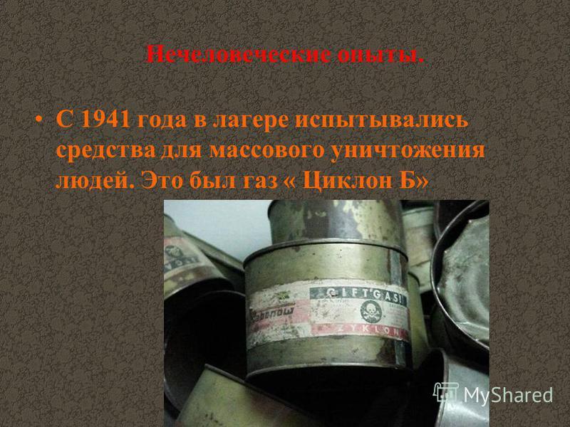 Нечеловеческие опыты. С 1941 года в лагере испытывались средства для массового уничтожения людей. Это был газ « Циклон Б»