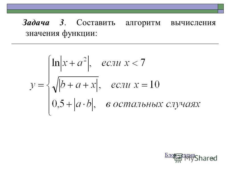 10 Задача 3. Составить алгоритм вычисления значения функции: Блок - схема