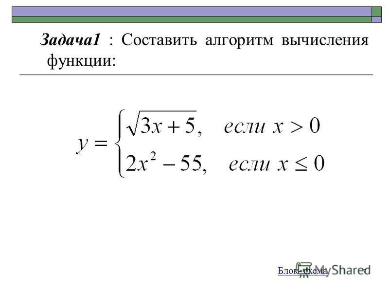 7 Задача 1 : Составить алгоритм вычисления функции: Блок- схема