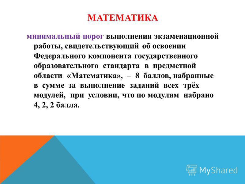 МАТЕМАТИКА минимальный порог выполнения экзаменационной работы, свидетельствующий об освоении Федерального компонента государственного образовательного стандарта в предметной области «Математика», – 8 баллов, набранные в сумме за выполнение заданий в