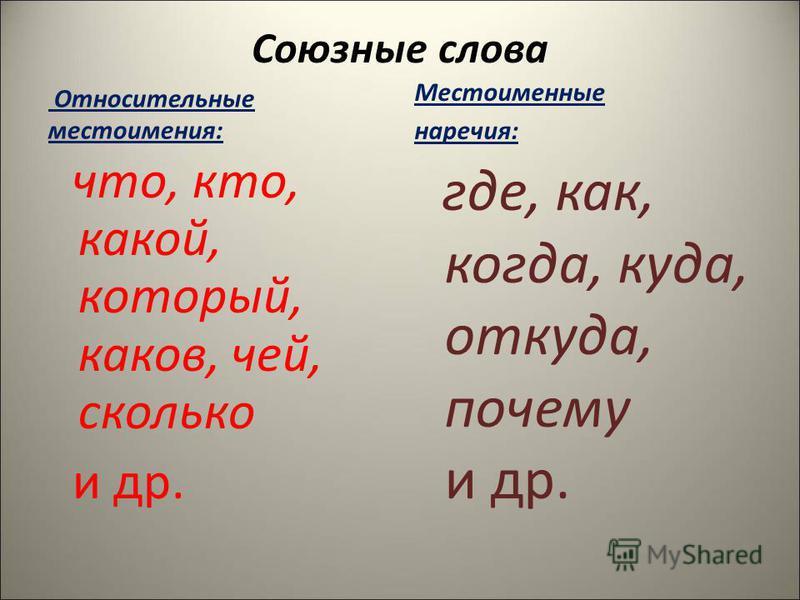 Союзные слова Относительные местоимения: что, кто, какой, который, каков, чей, сколько и др. Местоименные наречия: где, как, когда, куда, откуда, почему и др.