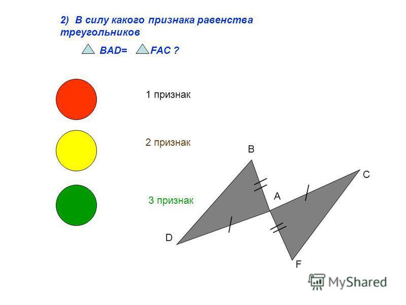 2) В силу какого признака равенства треугольников BAD= FAC ? 1 признак 2 признак 3 признак В А D F C