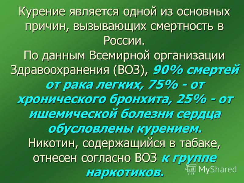 Курение является одной из основных причин, вызывающих смертность в России. По данным Всемирной организации Здравоохранения (ВОЗ), 90% смертей от рака легких, 75% - от хронического бронхита, 25% - от ишемической болезни сердца обусловлены курением. Ни