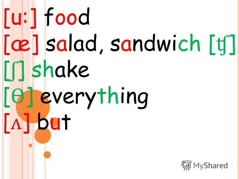 [u:] food [æ] salad, sandwich [ ʧ ] [ ʃ ] shake [ Ɵ ] everything [ ʌ ] but