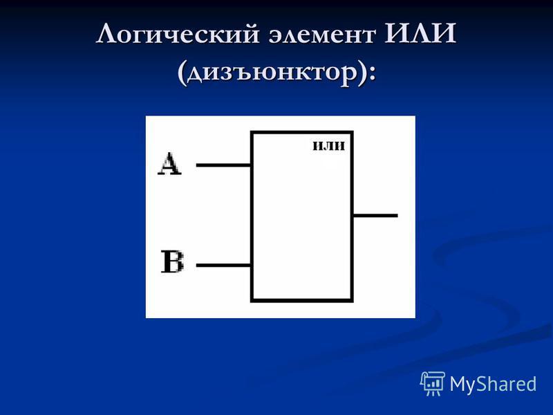 Логический элемент ИЛИ (дизъюнктор):