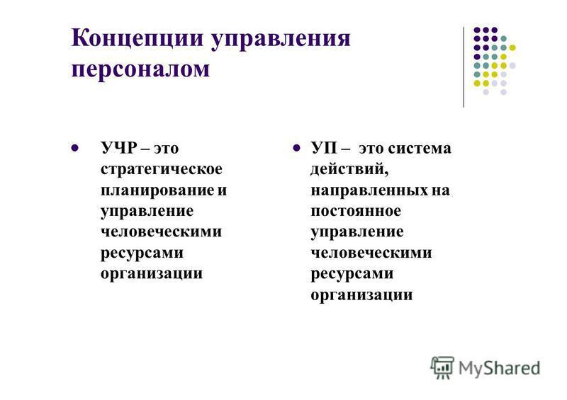 Концепции управления персоналом УЧР – это стратегическое планирование и управление человеческими ресурсами организации УП – это система действий, направленных на постоянное управление человеческими ресурсами организации
