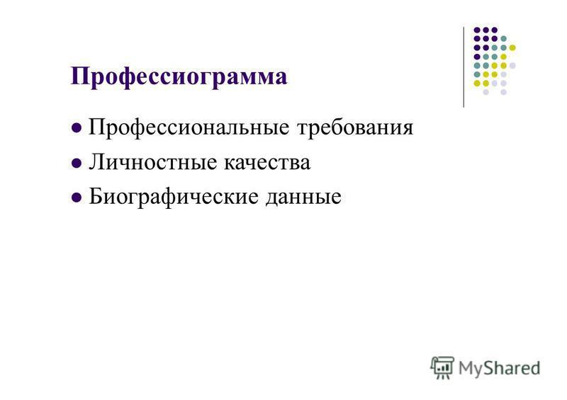 Профессиограмма Профессиональные требования Личностные качества Биографические данные