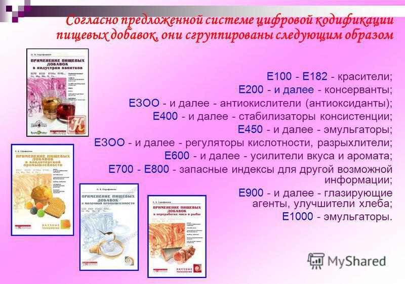 Согласно предложенной системе цифровой кодификации пищевых добавок, они сгруппированы следующим образом Е100 - Е182 - красители; Е200 - и далее - консерванты; ЕЗОО - и далее - антиокислители (антиоксиданты); Е400 - и далее - стабилизаторы консистенци
