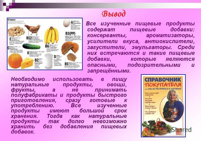 Все изученные пищевые продукты содержат пищевые добавки: консерванты, ароматизаторы, усилители вкуса, антиокислители, загустители, эмульгаторы. Среди них встречаются и такие пищевые добавки, которые являются опасными, подозрительными и запрещёнными.
