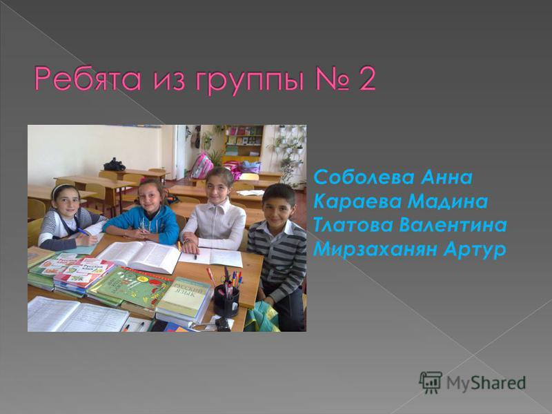 Соболева Анна Караева Мадина Тлатова Валентина Мирзаханян Артур