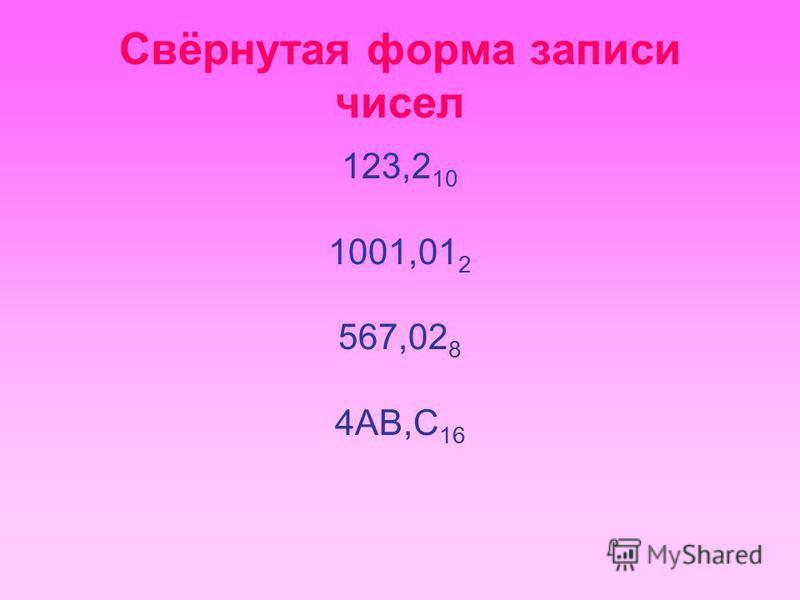 Свёрнутая форма записи чисел 123,2 10 1001,01 2 567,02 8 4AB,C 16