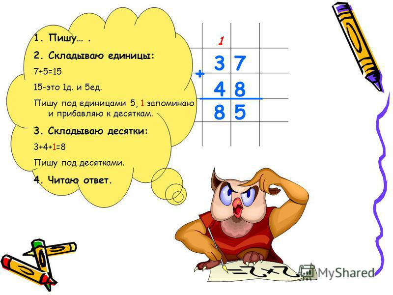 3 7 4 8 8 5 + _____ 1 1.Пишу…. 2. Складываю единицы: 7+5=15 15-это 1 д. и 5 ед. Пишу под единицами 5, 1 запоминаю и прибавляю к десяткам. 3. Складываю десятки: 3+4+1=8 Пишу под десятками. 4. Читаю ответ.