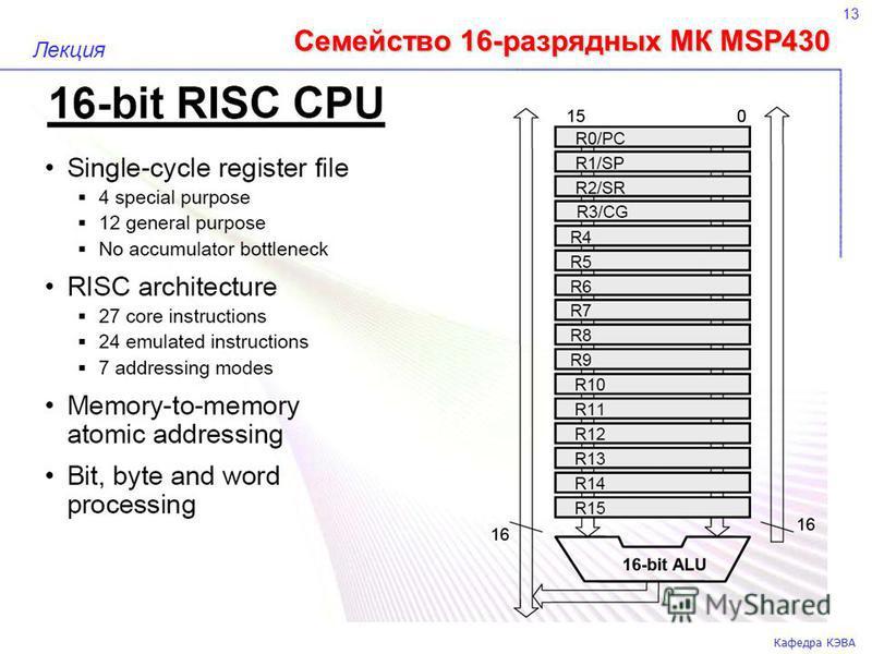 Семейство 16-разрядных МК MSP430 13 Кафедра КЭВА Лекция