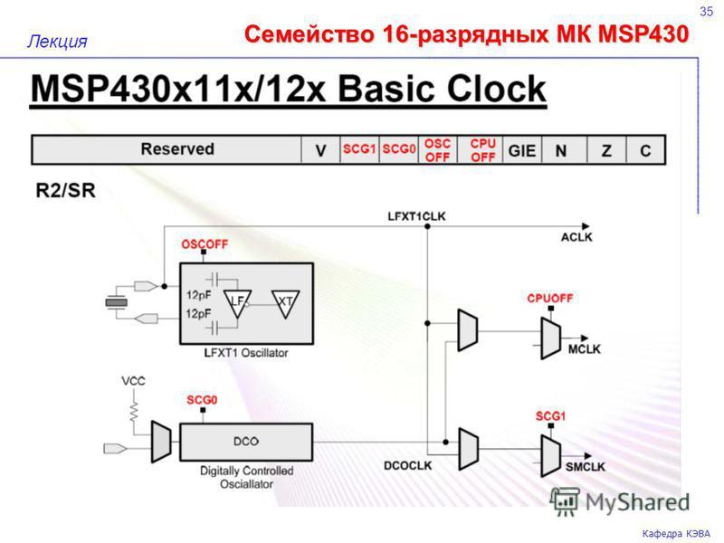 Семейство 16-разрядных МК MSP430 35 Кафедра КЭВА Лекция