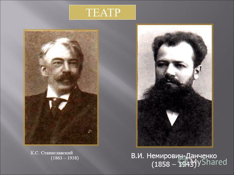 К. С. С таниславский (1863 – 1938) В.И. Немирович-Данченко (1858 – 1943) ТЕАТР