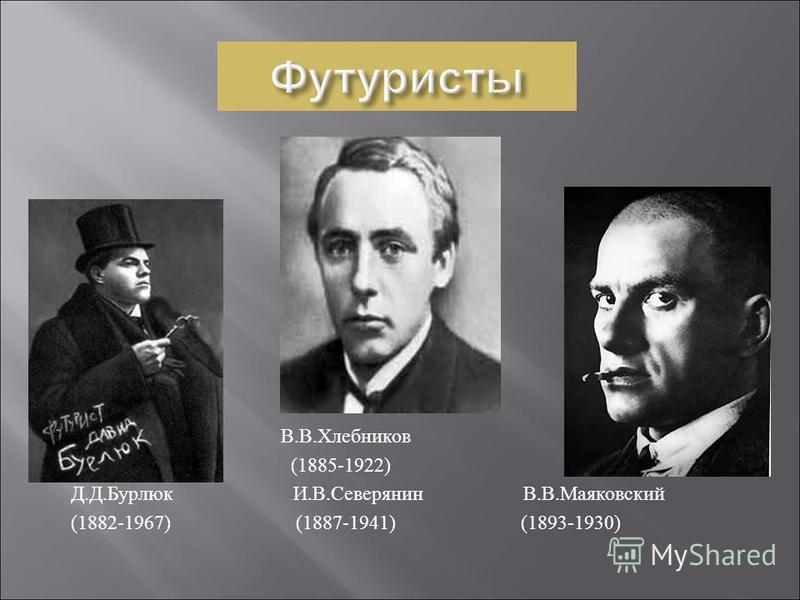 В. В. Хлебников (1885-1922) Д. Д. Бурлюк И. В. Северянин В. В. Маяковский (1882-1967) (1887-1941) (1893-1930)