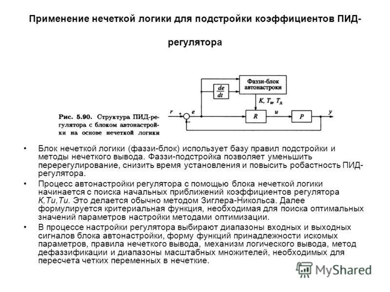 Применение нечеткой логики для подстройки коэффициентов ПИД- регулятора Блок нечеткой логики (фаззи-блок) использует базу правил подстройки и методы нечеткого вывода. Фаззи-подстройка позволяет уменьшить перерегулирование, снизить время установления