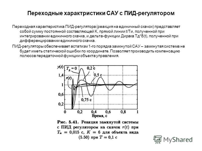 Переходные характеристики САУ с ПИД-регулятором Переходная характеристика ПИД-регулятора (реакция на единичный скачок) представляет собой сумму постоянной составляющей K, прямой линии t/Tи, полученной при интегрировании единичного скачка, и дельта-фу