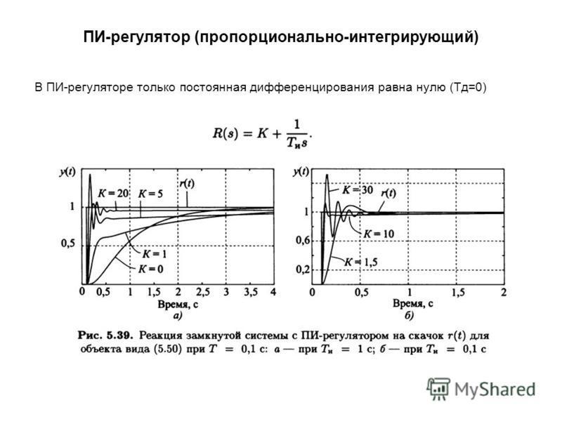 ПИ-регулятор (пропорционально-интегрирующий) В ПИ-регуляторе только постоянная дифференцирования равна нулю (Тд=0)