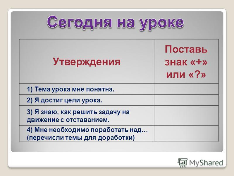 Утверждения Поставь знак «+» или «?» 1) Тема урока мне понятна. 2) Я достиг цели урока. 3) Я знаю, как решить задачу на движение с отставанием. 4) Мне необходимо поработать над… (перечисли темы для доработки)