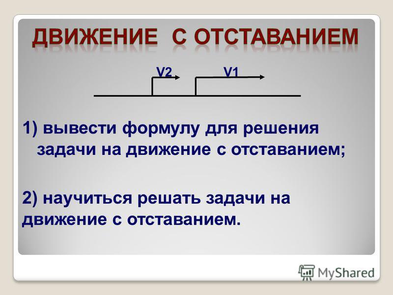 V2V2V1V1 1) вывести формулу для решения задачи на движение с отставанием; 2) научиться решать задачи на движение с отставанием.