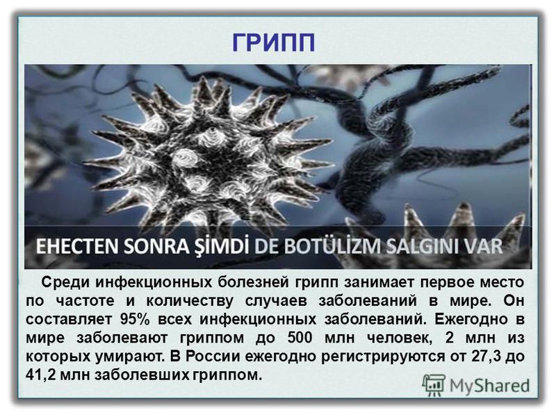 Среди инфекционных болезней грипп занимает первое место по частоте и количеству случаев заболеваний в мире. Он составляет 95% всех инфекционных заболеваний. Ежегодно в мире заболевают гриппом до 500 млн человек, 2 млн из которых умирают. В России еже