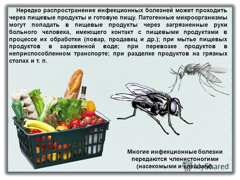 Нередко распространение инфекционных болезней может проходить через пищевые продукты и готовую пищу. Патогенные микроорганизмы могут попадать в пищевые продукты через загрязненные руки больного человека, имеющего контакт с пищевыми продуктами в проце