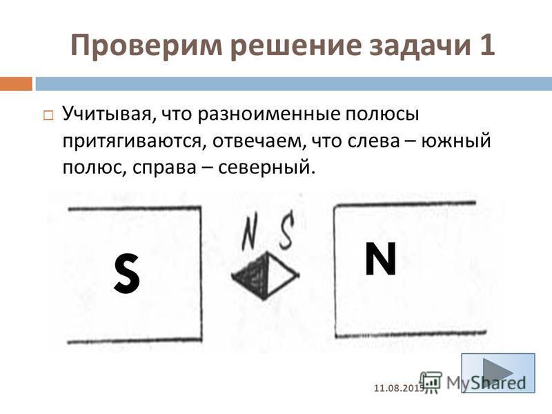 Проверим решение задачи 1 Учитывая, что разноименные полюсы притягиваются, отвечаем, что слева – южный полюс, справа – северный. S N 11.08.2015
