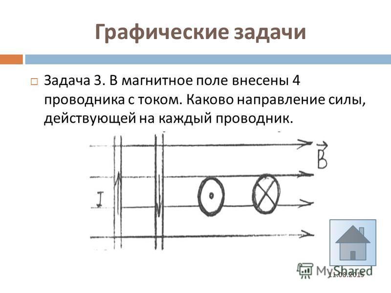 Графические задачи 11.08.2015 Задача 3. В магнитное поле внесены 4 проводника с током. Каково направление силы, действующей на каждый проводник.